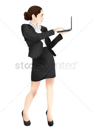 Skirt : Businesswoman using laptop