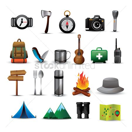 Wooden sign : Camping icon set
