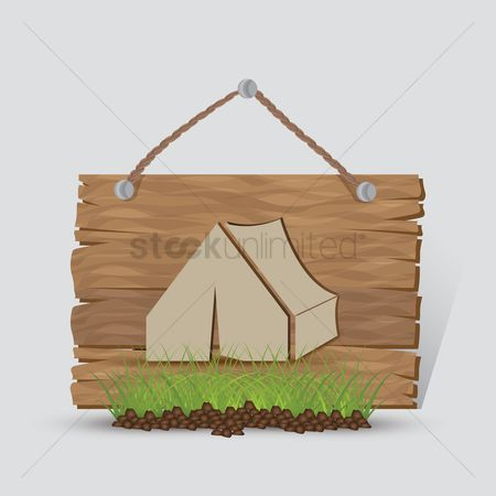 Hiking : Camping tent sign