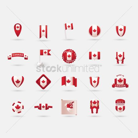 Love speech bubble : Canada flag icon collection