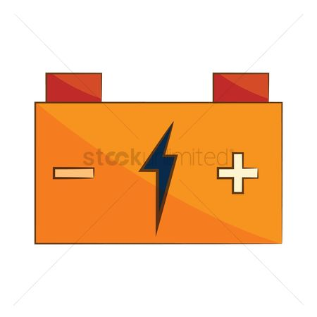 High voltage : Car battery with high voltage sign