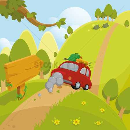 Hills : Car on picnic
