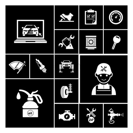Machines : Car service maintenance icons