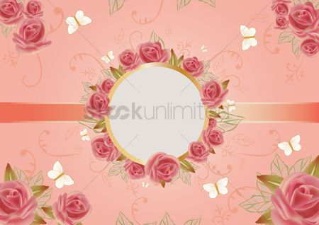 Shapes : Card of beautiful roses with round frame