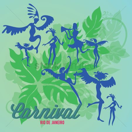 Rio de janeiro : Carnival dancers silhouette with leaves background