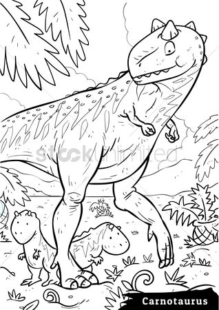Colorings : Carnotaurus with hatchlings