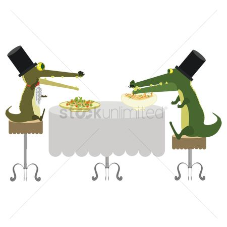 Trumpets : Cartoon alligator eating food