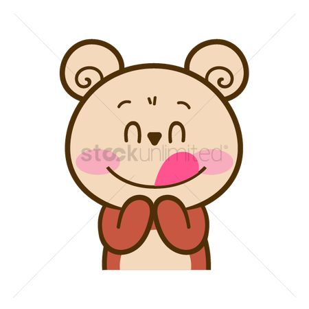 Teddybear : Cartoon bear licking lips