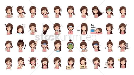 Contemplate : Cartoon girl expressions pack