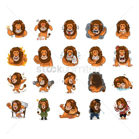 Eat : Cartoon lion expressions pack
