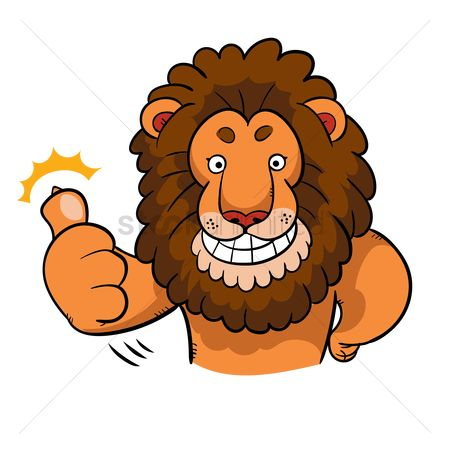 Expression : Cartoon lion with thumbs up gesture