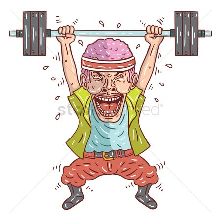 Strength exercise : Cartoon man lifting weight barbell