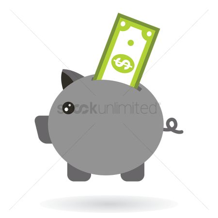 Piggy banks : Cash with money symbol in a money box