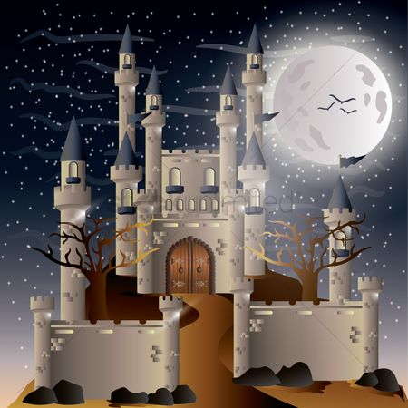 Bats : Castle with moon
