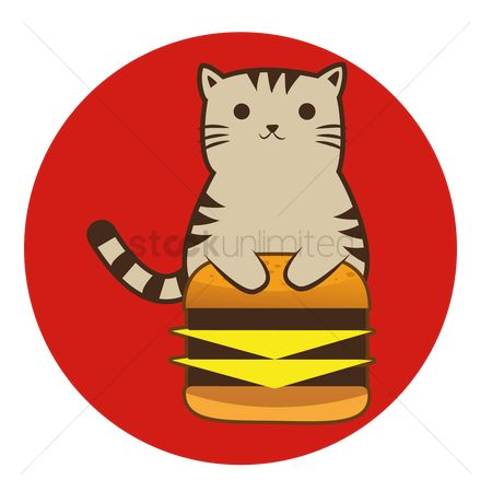 Animal : Cat cartoon sitting upright with cheese burger