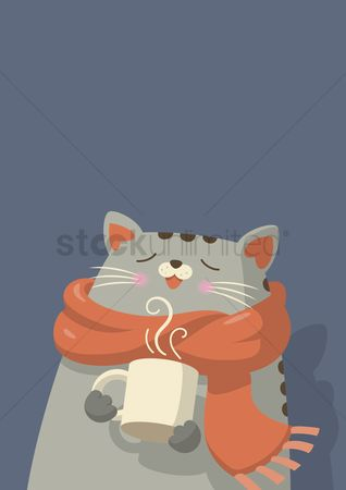 Cloth : Cat with scarf enjoying hot drink