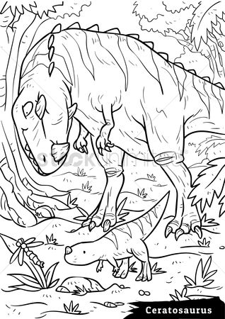 Colorings : Ceratosaurus with hatchlings