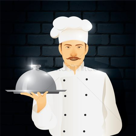 Dishes : Chef standing with cloche