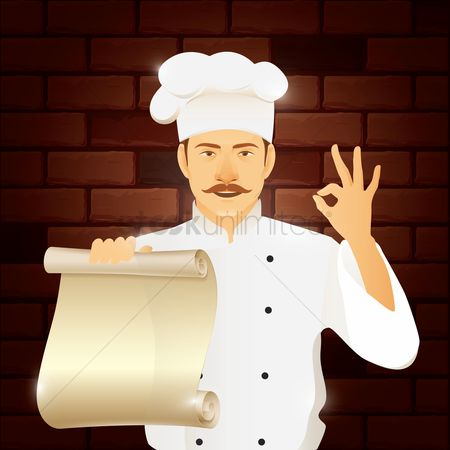 Copy spaces : Chef standing with menu