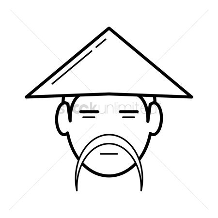 Headdress : Chinese man wearing bamboo hat