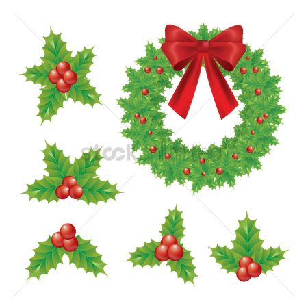 Ornament : Christmas wreath and holly berry set