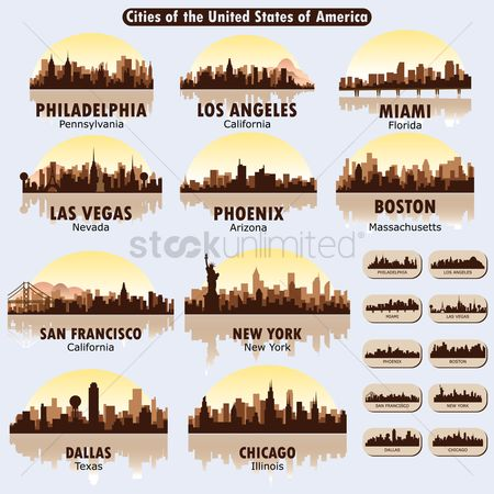 United states : Cities of the united states of america