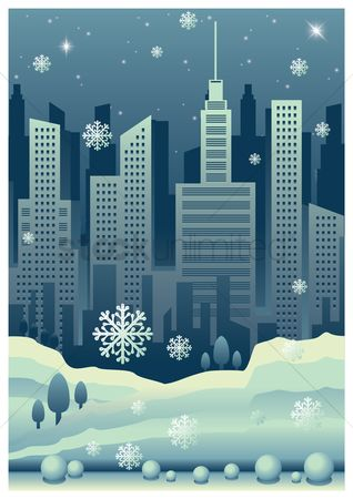 Places : Cityscape poster with snowfall