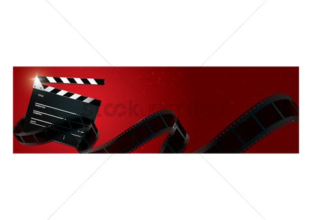 Production : Clapperboard with film roll banner