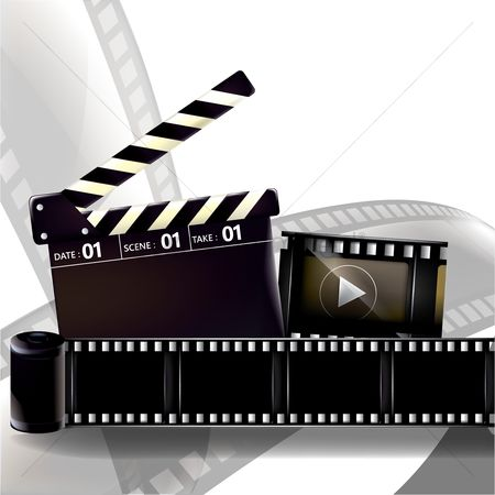 Production : Clapperboard with film rolls