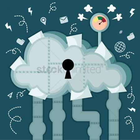 Errors : Cloud storage concept on cloud breakdown