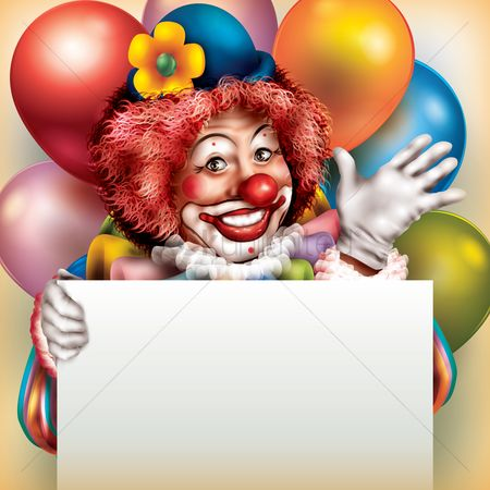 Balloons : Clown holding placard