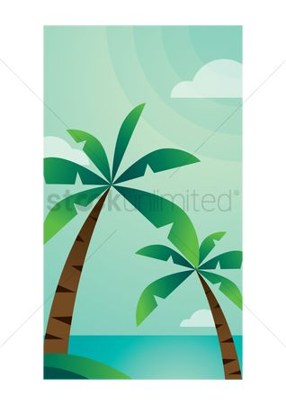 App : Coconut trees mobile interface wallpaper