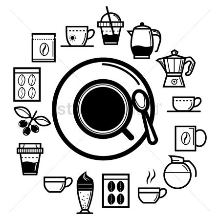Black background : Coffee icons