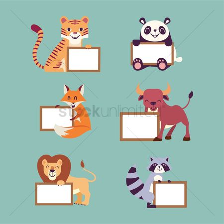 Signages : Collection of animals with a board