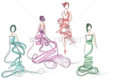 Clothings : Collection of artistic fashion model in gown sketches
