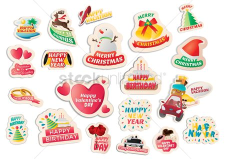 Seashore : Collection of assorted stickers