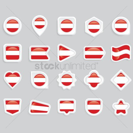Love speech bubble : Collection of austria flag icons