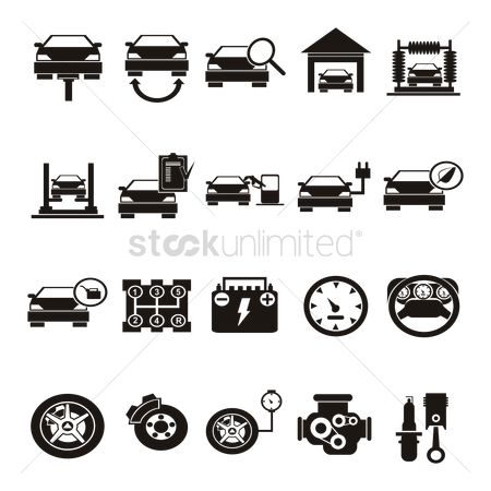 Car speedometer : Collection of automobile icons