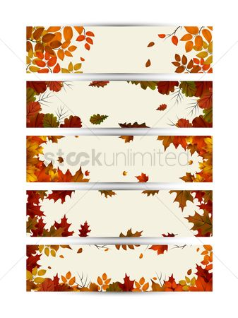 Season : Collection of autumn themed banners