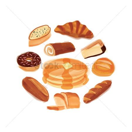 Croissant : Collection of baked food