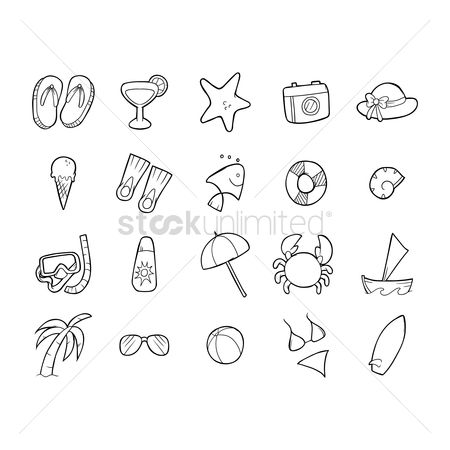 Swimsuit : Collection of beach items