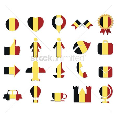 Belgium : Collection of belgium flag icons
