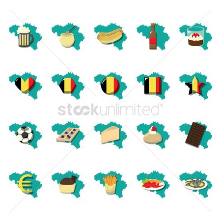 Belgium : Collection of belgium icons