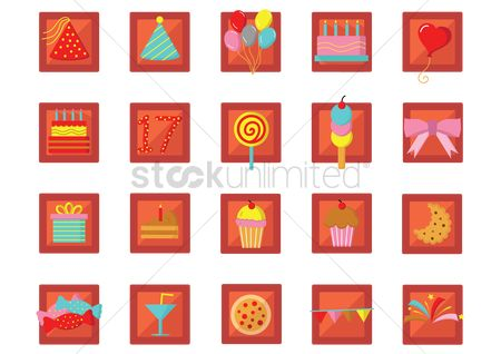 17 : Collection of birthday celebration icons