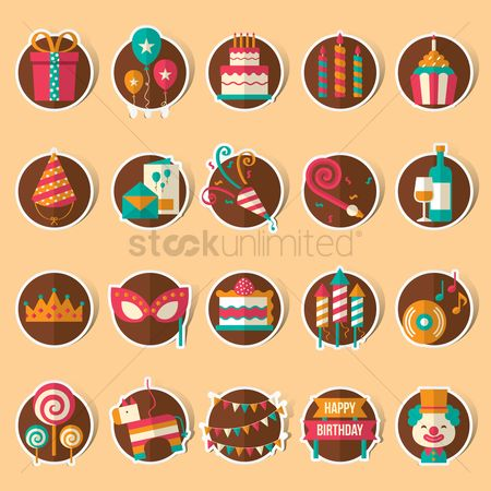 Boxes : Collection of birthday icons