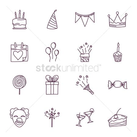 Cosmetic : Collection of birthday icons