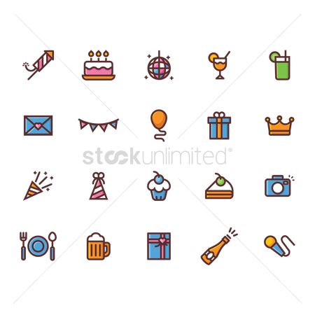 Slice : Collection of birthday icons