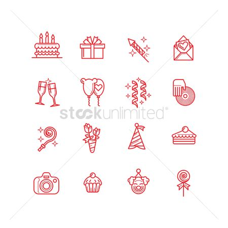 Minimalist : Collection of birthday icons