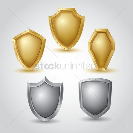 Silver : Collection of blank shields