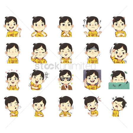 Cartoon : Collection of boy with expression stickers